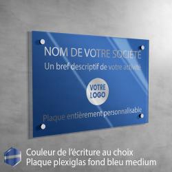 Écriture ARGENT - Plaque professionnelle en plexiglas fond Bleu Medium à personnaliser | 30 x 20 cm