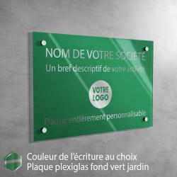 Écriture ARGENT - Plaque professionnelle en plexiglas fond Vert Jardin à personnaliser | 30 x 20 cm
