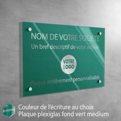 Écriture ARGENT - Plaque professionnelle en plexiglas fond Vert Medium à personnaliser | 30 x 20 cm