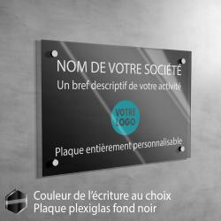 Plaque professionnelle en plexiglas fond Noir à personnaliser | 30 x 20 cm