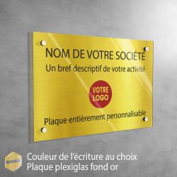 Plaque professionnelle en plexiglas fond Or à personnaliser | 30 x 20 cm