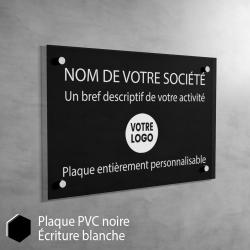 Plaque professionnelle en PVC Noir à personnaliser | 30 cm x 20 cm