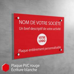 Plaque professionnelle en PVC Rouge à personnaliser | 30 x 20 cm