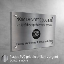 Plaque professionnelle en PVC Gris Alu Brillant à personnaliser | 30 x 20 cm
