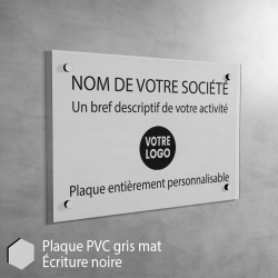 Plaque professionnelle en PVC Gris Mat à personnaliser | 30 cm x 20 cm