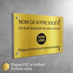 Plaque professionnelle en PVC Or Brillant à personnaliser | 30 x 20 cm