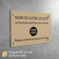 Plaque professionnelle en PVC Or Mat à personnaliser | 30 x 20 cm