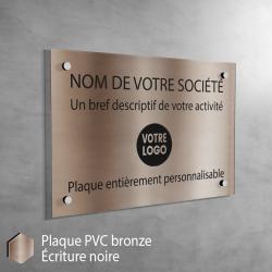 Plaque professionnelle en PVC Bronze (noir) à personnaliser | 30 x 20 cm