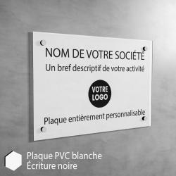 Plaque professionnelle en PVC Blanc (noir) à personnaliser | 30 x 20 cm