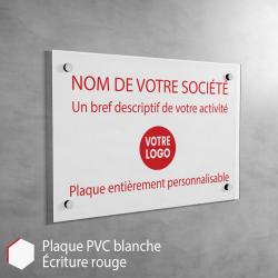 Plaque professionnelle en PVC Blanc (rouge) à personnaliser | 30 x 20 cm