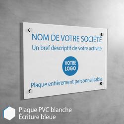 Plaque professionnelle en PVC Blanc (bleu) à personnaliser | 30 x 20 cm