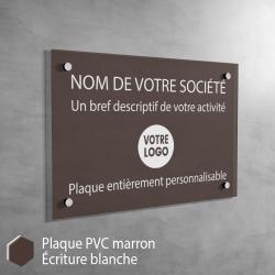 Plaque professionnelle en PVC Marron à personnaliser | 30 x 20 cm