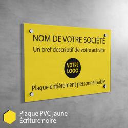 Plaque professionnelle en PVC Jaune à personnaliser | 30 x 20 cm