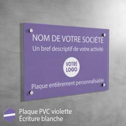Plaque professionnelle en PVC Violet à personnaliser | 30 x 20 cm