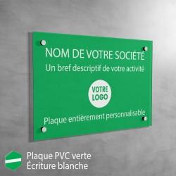Plaque professionnelle en PVC Vert à personnaliser | 30 x 20 cm