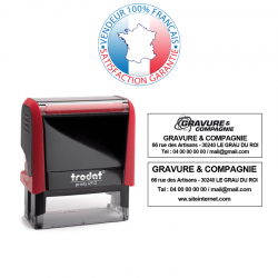 TRODAT PRINTY 4912 | Tampon encreur 4 lignes | Empreinte 47 x 18 mm OFFERTE