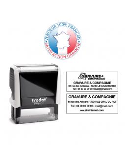 TRODAT PRINTY 46145 | Tampon texte et date 3 + 3 lignes | Empreinte 45 mm OFFERTE