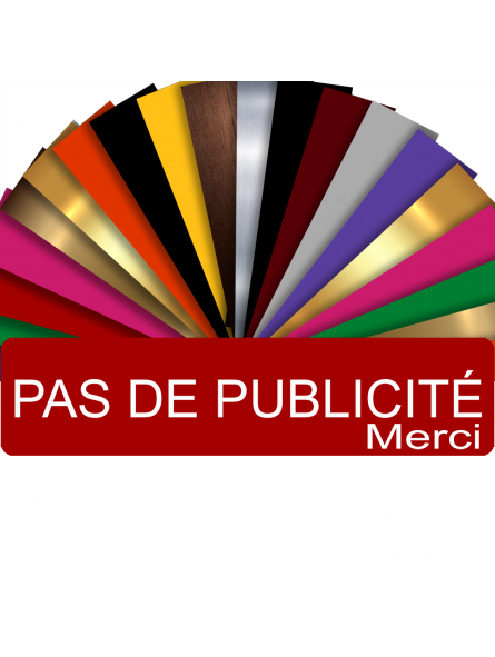 Plaque PAS DE PUBLICITÉ MERCI Adhésive PVC Pour Boîte Aux Lettres - Plaque Stop Pub - 8 cm x 2 cm (Rouge)