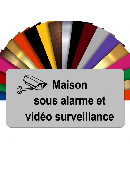 Plaque - Maison Sous Alarme Et Vidéosurveillance - Autocollante – Plaque De Maison PVC Adhésive 10 x 5 cm (Gris Mat)