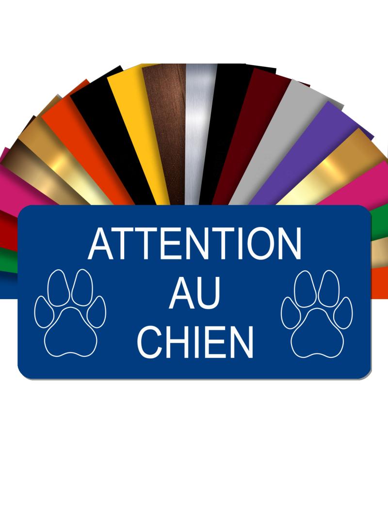 Plaque Attention Au Chien Autocollante – Plaque De Maison PVC Adhésive 10 x 5 cm (Bleu)