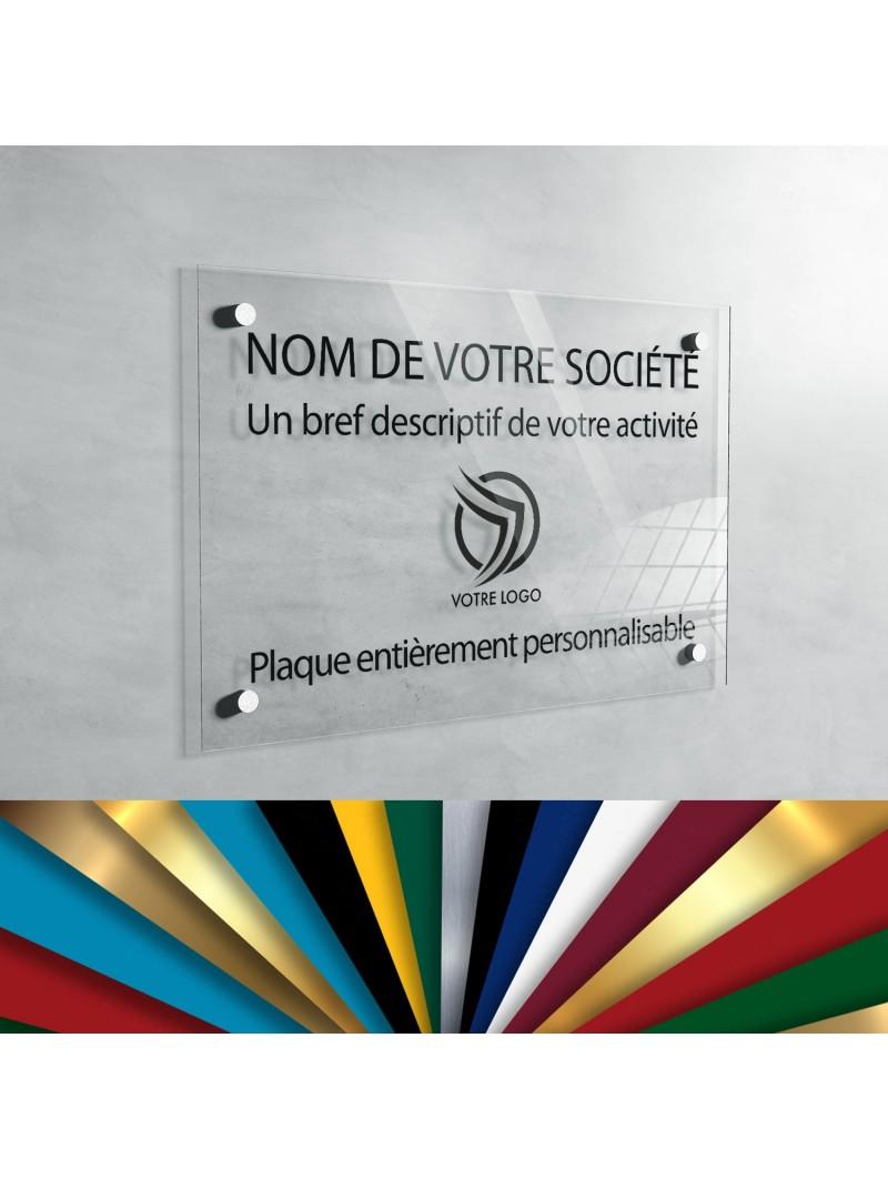 Plaque professionnelle en plexiglas transparent à personnaliser | 30 x 20 cm