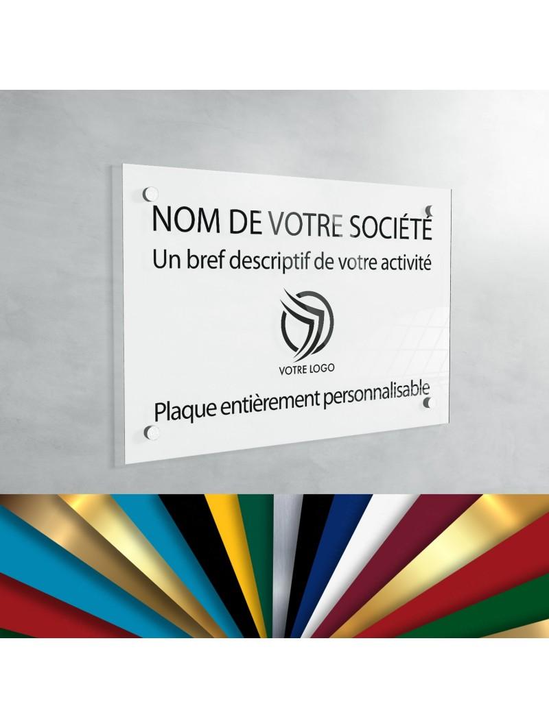 Plaque professionnelle en plexiglas fond Blanc à personnaliser   30 x 20 cm